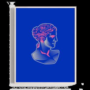 Busto griego en estilo grabado, elementos clásicos con un aspecto de modernidad