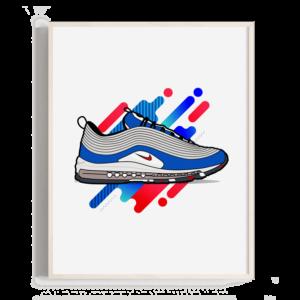 Ilustración realista pero sin dejar de lado la representación gráfica de una zapatilla nike