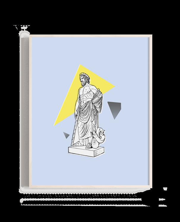 Escultura griega clásica sobre un fondo geométrico y fonso plano en colores pasteles