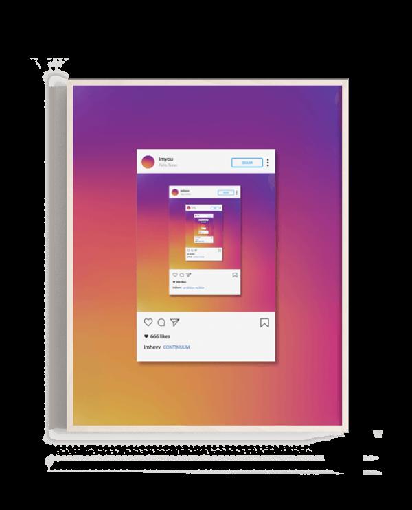 Los colores del degradado en el logotipo de instagram junto a un reflejo infinito de posts