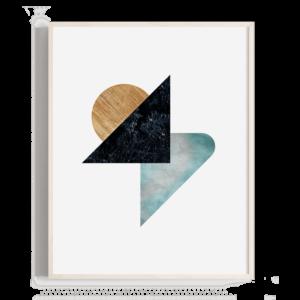 Tres formas geométricas equilibradas en la composición
