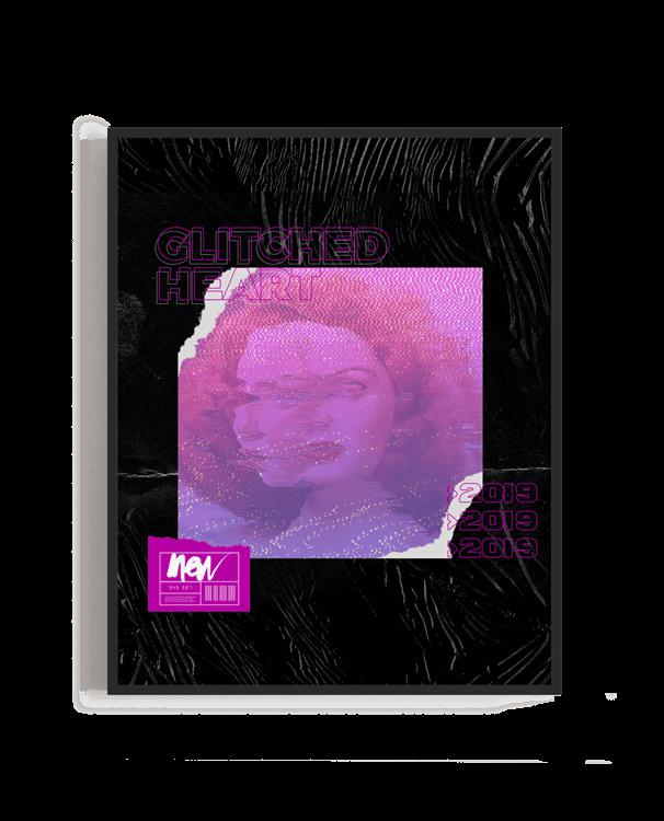 Ilustración de estilo cyberpunk formada por imagen y texto