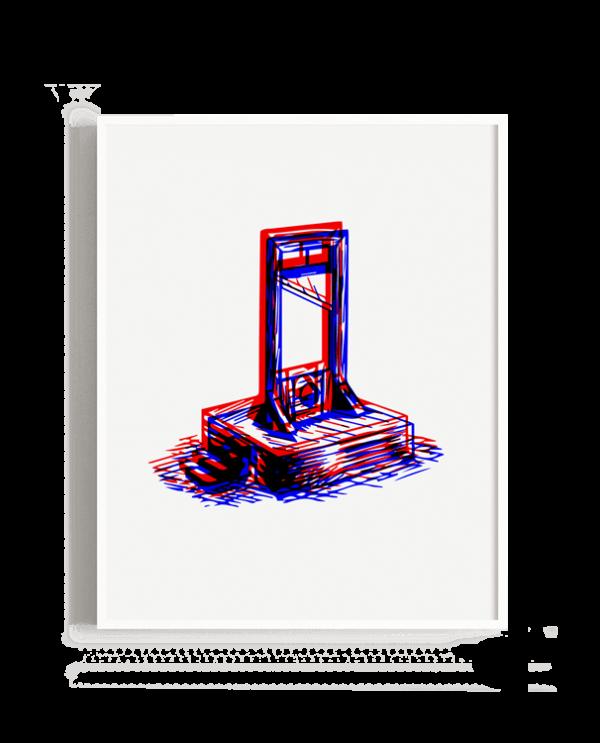 Representación de una guillotina en visión 3d
