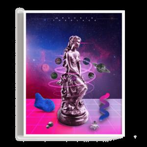 Elementos abstractos y de colores intensos junto con esculturas griegas en un ambiente espacial