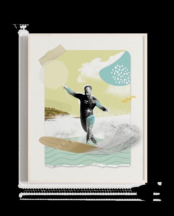 Collage digital con longboarder