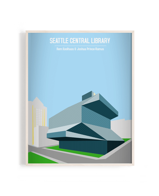 Ilustración vectorial del edificio Seattle Central Library